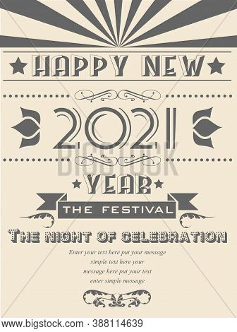 2021 Happy New Year Flayer Vintage Retro Poster