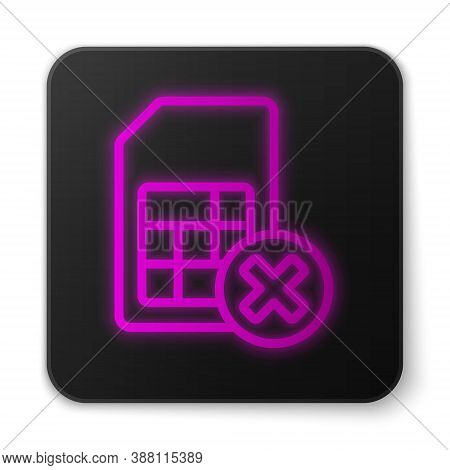 Glowing Neon Line Sim Card Rejected Icon Isolated On White Background. Mobile Cellular Phone Sim Car