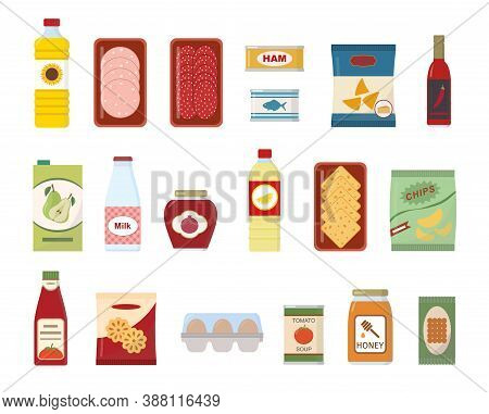Food And Drink Set. Collection Of Flat Vector Icons. Isolated On White Background.