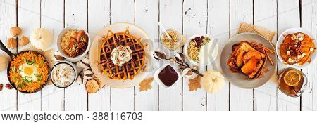 Fall Breakfast Or Brunch Buffet Table Scene Against A White Wood Banner Background. Pumpkin Spice Pa