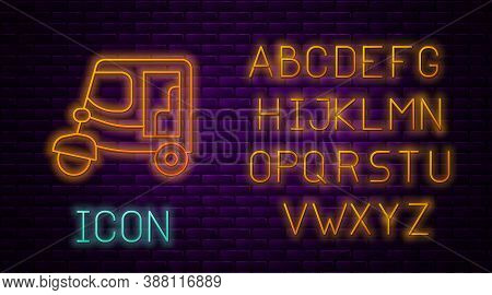 Glowing Neon Line Taxi Tuk Tuk Icon Isolated On Brick Wall Background. Indian Auto Rickshaw Concept.