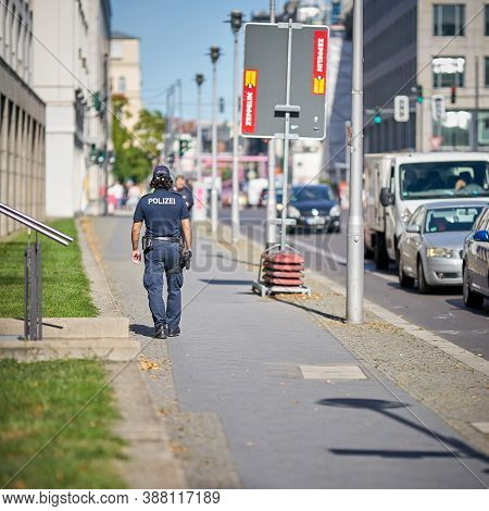 Berlin, Germany - September 18, 2020: Armed Police Officer To Reinforce The Police Presence In The C