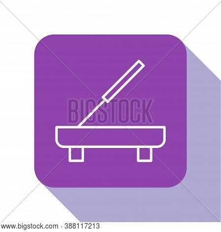 White Line Scented Spa Stick On A Wooden Stand Icon Isolated On White Background. Incense Stick. Cos