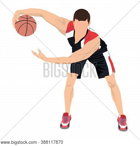 Basketball Dribbling Skills. Athlete, Professional Basketball Player With Ball, Vector Illustration.