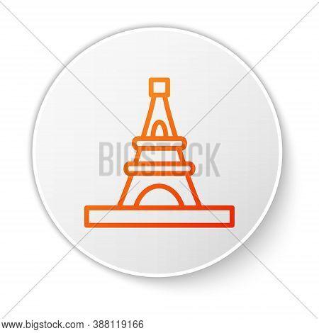 Orange Line Eiffel Tower Icon Isolated On White Background. France Paris Landmark Symbol. White Circ