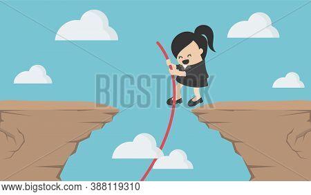 Business Concept Cartoon Illustration Businesswomen Jumping Through