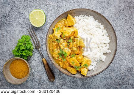 Chicken Cooked With Curry Sauce And Rice, Top View