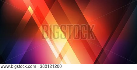 Abstract Red Glowing Neon Shine Geometric Triangle Shape With Light Effects On Dark Background. Vect
