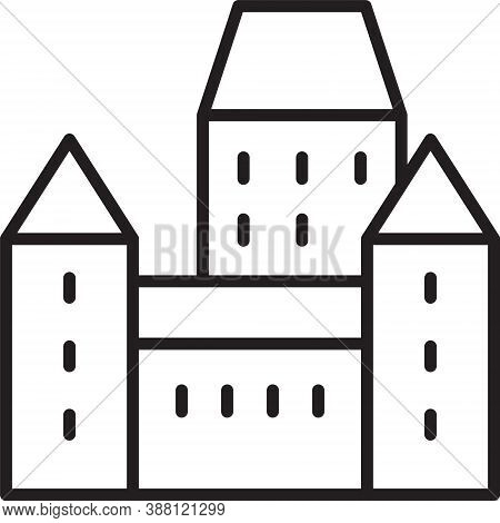 Black Line Chateau Frontenac Hotel In Quebec City, Canada Icon Isolated On White Background. Vector