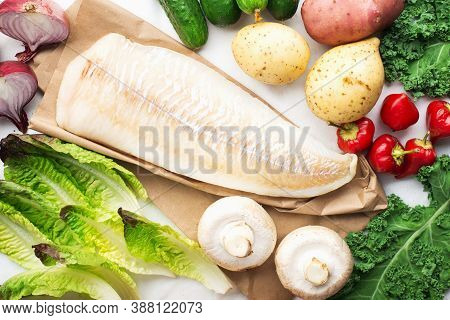 Cod Simple Healthy Food Ingredients: White Fish, Vegetables, Mushrooms, Green Leafy Salads, Onions,