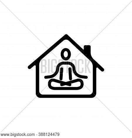 Happy Woman Doing Yoga At Home Icon. Relaxation And Concentration. Quarantine Activity. Mental Healt