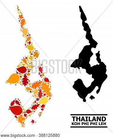Mosaic Autumn Leaves And Solid Map Of Koh Phi Leh. Vector Map Of Koh Phi Leh Is Constructed With Ran