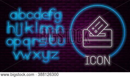 Glowing Neon Line Vote Box Or Ballot Box With Envelope Icon Isolated On Brick Wall Background. Neon