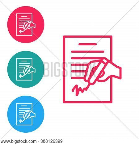 Red Line Petition Icon Isolated On White Background. Set Icons In Circle Buttons. Vector