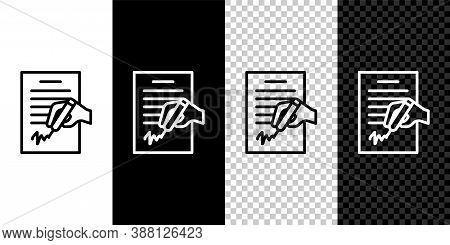 Set Line Petition Icon Isolated On Black And White Background. Vector