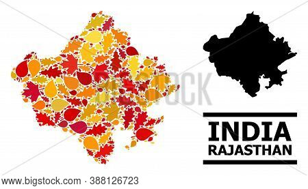 Mosaic Autumn Leaves And Solid Map Of Rajasthan State. Vector Map Of Rajasthan State Is Organized Wi
