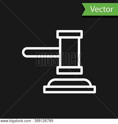 White Line Judge Gavel Icon Isolated On Black Background. Gavel For Adjudication Of Sentences And Bi
