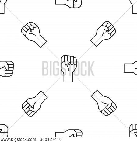 Grey Line Raised Hand With Clenched Fist Icon Isolated Seamless Pattern On White Background. Protest