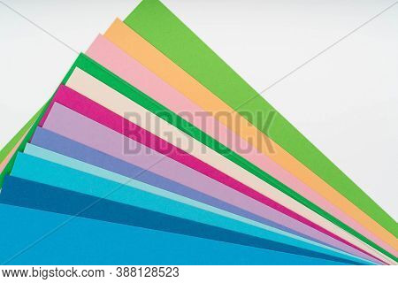 set of colorful paper sheets  flat lay