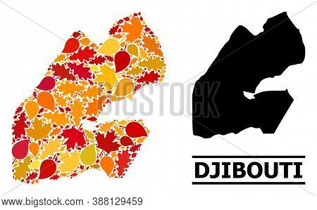 Mosaic Autumn Leaves And Solid Map Of Djibouti. Vector Map Of Djibouti Is Designed Of Scattered Autu