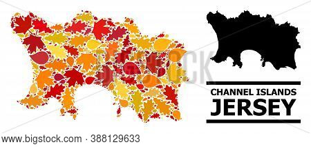 Mosaic Autumn Leaves And Solid Map Of Jersey Island. Vector Map Of Jersey Island Is Formed Of Scatte