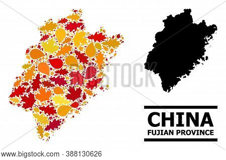 Mosaic Autumn Leaves And Solid Map Of Fujian Province. Vector Map Of Fujian Province Is Composed Wit