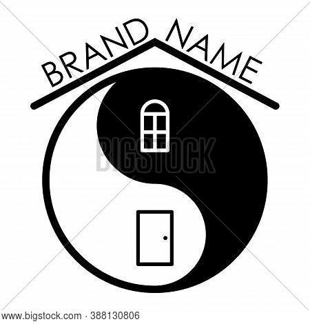 Minimalistic Feng Shui Logo Editable Design For Business, New Brand, Home Decoration. Isolated On Wh