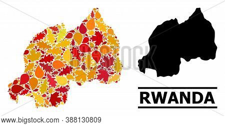Mosaic Autumn Leaves And Solid Map Of Rwanda. Vector Map Of Rwanda Is Done Of Random Autumn Maple An