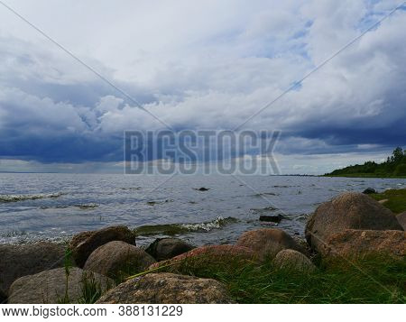 View Of The Lake Ladoga Harsh Northern Landscape