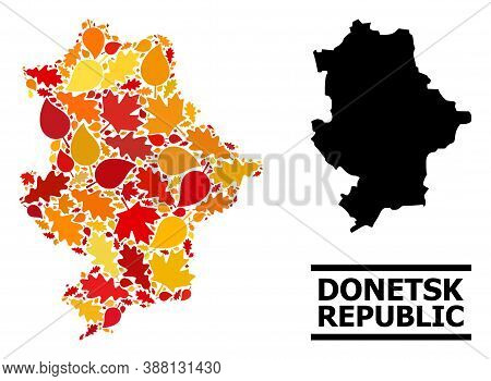 Mosaic Autumn Leaves And Solid Map Of Donetsk Republic. Vector Map Of Donetsk Republic Is Shaped Wit
