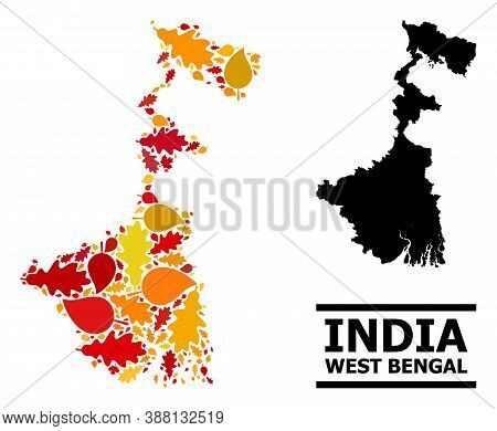 Mosaic Autumn Leaves And Solid Map Of West Bengal State. Vector Map Of West Bengal State Is Designed