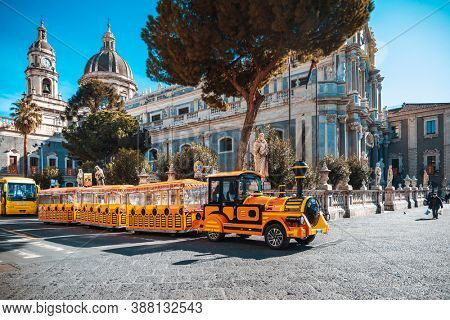 CATANIA, ITALY - January 19, 2019: Sightseeing bus in Old Town Catania, Italy