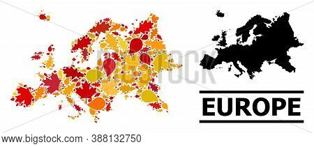 Mosaic Autumn Leaves And Solid Map Of Europe. Vector Map Of Europe Is Formed Of Scattered Autumn Map