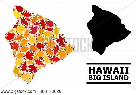 Mosaic Autumn Leaves And Usual Map Of Hawaii Big Island. Vector Map Of Hawaii Big Island Is Created