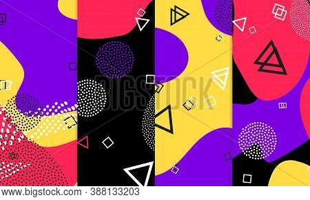 Purple Background. Abstract Memphis Pattern. Vector Illustration. Hipster Style 80s-90s. Fun Pattern