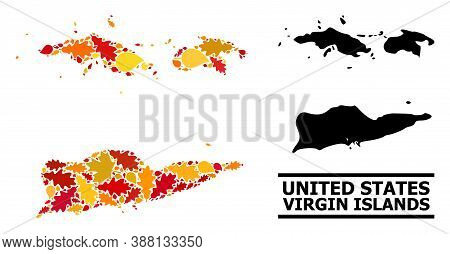 Mosaic Autumn Leaves And Usual Map Of American Virgin Islands. Vector Map Of American Virgin Islands
