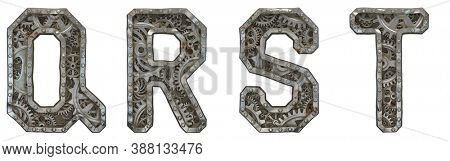 Mechanical alphabet made from rivet metal with gears on white background. Set of letters Q, R, S, T. 3D rendering
