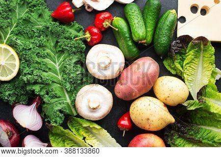 Healthy Simple Home Food Ingredients Farm Vegetables Potatoes, Cucumbers, Cabbage, Kale, Garlic, Oni