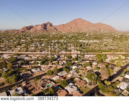 Camelback Mountain and canal in Phoenix, Scottsdale, Arizona,USA