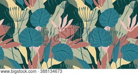 Artistic Seamless Pattern With Abstract Leaves. Modern Vector Design