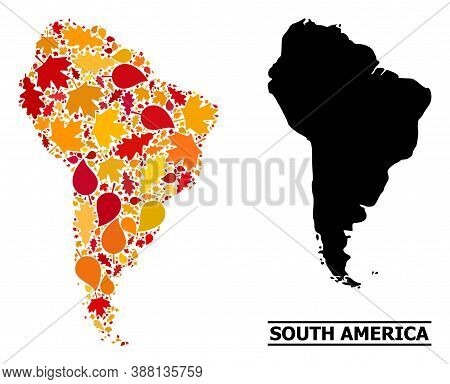 Mosaic Autumn Leaves And Solid Map Of South America. Vector Map Of South America Is Designed Of Rand
