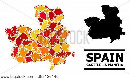 Mosaic Autumn Leaves And Usual Map Of Castile-la Mancha Province. Vector Map Of Castile-la Mancha Pr