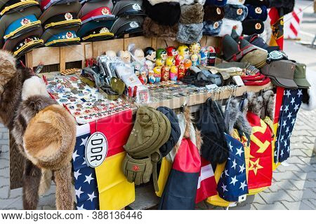Berlin / Germany - February 15, 2017: Street Stall With Souvenirs And Socialist Memorabilia From Eas