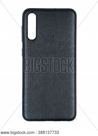 Moscow, Russia - February 22, 2020: Black Smartphone On A White Background In A Transparent Case Fro