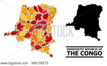 Mosaic Autumn Leaves And Usual Map Of Democratic Republic Of The Congo. Vector Map Of Democratic Rep