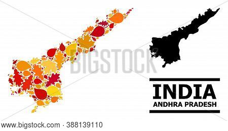 Mosaic Autumn Leaves And Usual Map Of Andhra Pradesh State. Vector Map Of Andhra Pradesh State Is Fo