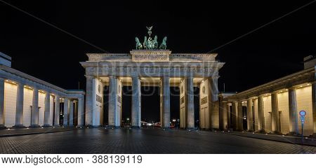 Berlin / Germany - February 16, 2017: Symbol Of Berlin And Germany, Brandenburg Gate At Night