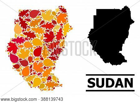 Mosaic Autumn Leaves And Usual Map Of Sudan. Vector Map Of Sudan Is Shaped With Randomized Autumn Ma