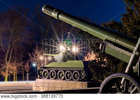 Berlin / Germany - March 4, 2017: Old Soviet Union Tanks And Artillery In Front Of The Soviet War Me
