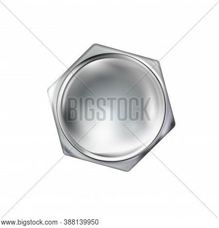 Glossy Polished Metal Realistic Bolt Head, Screw Cap. Twisted In Surface Isolated On White Backgroun
